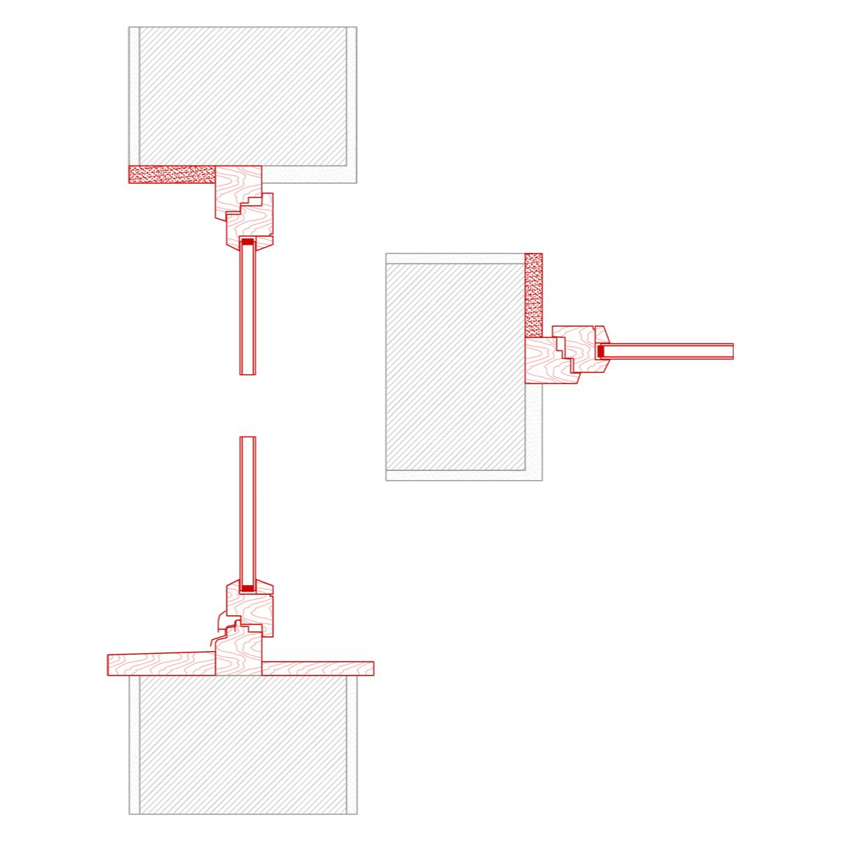 fenster detail b: zuerst fensteraustausch mit hilfe von holzkonsolen